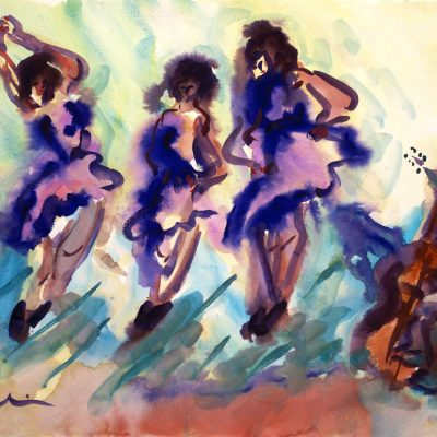 Dancing-with-a-Bass-Howard-Kline-22-x-30